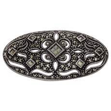 Vintage Sterling Silver And Marcasite Brooch Pin