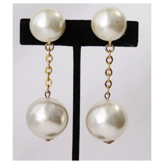 Vintage Faux Pearls Chains Clip On Earrings