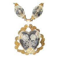 Vintage Crystals Reverse Carved Heart Necklace