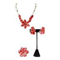 Vintage Plastic Flower 3-Piece Set Necklace Brooch And Earrings