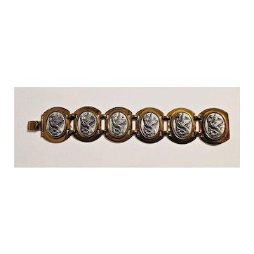 Vintage Bird Antique-Gold Metal Plaques Bracelet