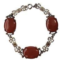 Vintage Carnelian Marcasites And Silver-Metal Bracelet