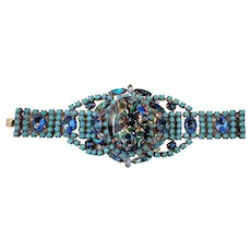 Vintage Czech Metallic Rhinestone Bracelet