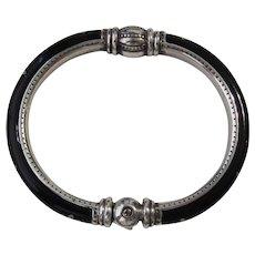Vintage Black Enamel Silver Tone Etched Bangle Bracelet