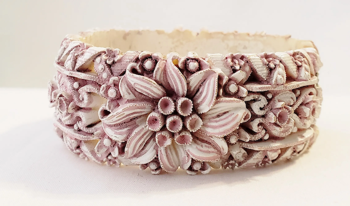 vintage pink and white featherlite clamper bracelet vintage objects ruby lane ruby lane