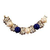 Vintage Faux Pearls Art Glass Bracelet