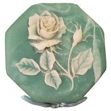Vintage Aqua And White Octagon Incolay Rose Box
