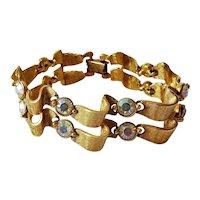 Vintage Double Ribbon Aurora Borealis Rhinestone Bracelet