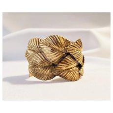 Vintage Gold Tone Metal Leaves Cuff Bracelet