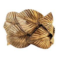 Vintage Gold Tone Metal Leaves Cuff Bracelet