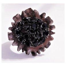 Vintage Large Black Rhinestone Abstract Flower Cuff Bracelet