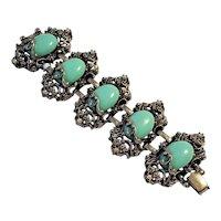 Vintage Unsigned Selro Selini Aqua Cabochon Bracelet