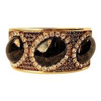 Vintage Dark Cabocohons Topaz And Clear Rhinestone Bangle Bracelet