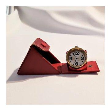 Vintage Mazal Red Tabletop Working Clock Paperweight