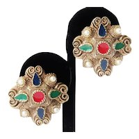 HOLD for LC-E-Vintage Multi-Colored Enamel Clip-On Earrings