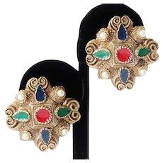 Vintage Multi-Colored Enamel Clip-On Earrings