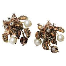 Vintage Vendome Rhinestones, Faux Pearls, Crystals Clip On Earrings