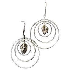 Vintage Sterling Silver Dangling Circles Pierced Earrings.