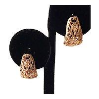 Vintage Gold Tone Filigree Pierced Earrings