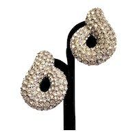 Vintage NLH Pave' Rhinestone Earrings