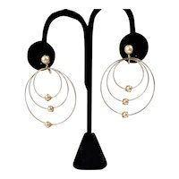 Vintage Faux Pearls And Circles Screw-On Earrings