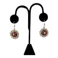 Vintage Rhinestones Domed Pierced Earrings