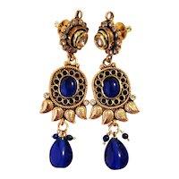 Vintage East Indian Ornate Royal Blue Earrings