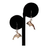 Vintage Sterling Silver Swimming Dolphins Earrings