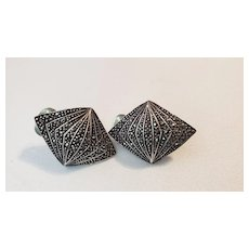 Vintage Geometric Sterling Silver And Marcasites Clip-On Earrings