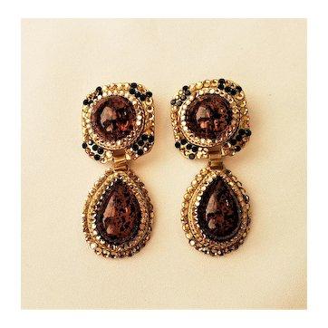 Vintage Rhinestones Topaz Glass Cabochons Dangling Clip On Earrings