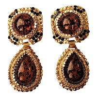 Vintage Rhinestones Topaz Glass Cabochons Dangling Clip On Earrings