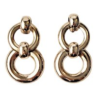Vintage Double Circles Clip On Earrings