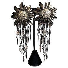 Vintage Sorrelli Gun Metal Dangling Clip On Earrings