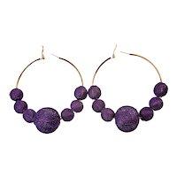 Vintage Purple Ball Cages Hoop Pierced Earrings