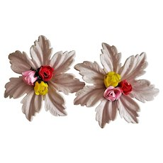 Vintage Hard Plastic Roses And Leaves Clip On Earrings