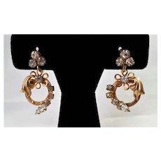 Vintage 1940s Dangling Rhinestone Screw-On Earrings