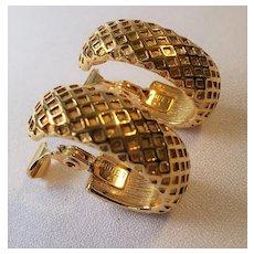 Vintage Monet Goldtone Textured Clip On Earrings