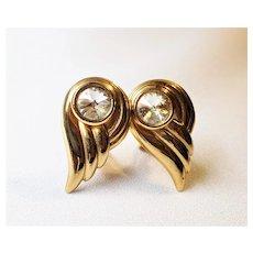 Vintage Rhinestone Goldtone Metal Clip On Earrings