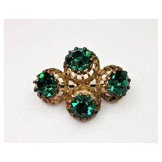 Vintage Made In Austria Brilliant Green Rhinestones Brooch Pin