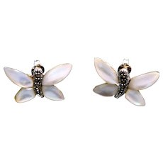 Vintage Sterling Silver Butterfly, Mother Of Pearl, Marcasites Earrings