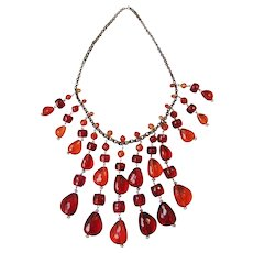 Vintage Red And Orange Lucite Drops Necklace