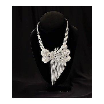 Vintage Rhinestone Bow Fringe Necklace