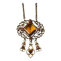 Vintage Czech Art Deco Topaz Cut-Glass Necklace