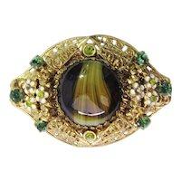 Vintage Czech Glass Rhinestones Enamel Filigree Brooch Pin