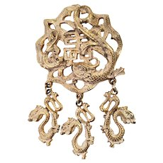 Vintage Hobe Whitewashed Asian Motif Pendant/Pin Brooch