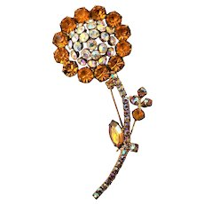Vintage Rhinestone Flower Topaz Aurora Borealis Rhinestone Brooch Pin