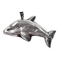 Vintage Sterling Silver Swimming Dolphin Pendant