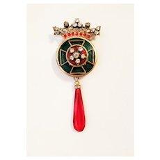 Vintage Accessocraft N.Y.C. Crown Enamel Brooch Pin/Pendant