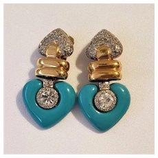 Vintage Vogue Bijoux Pave Rhinestones And Aqua Hearts Earrings
