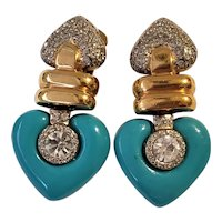 Vintage Vogue Bijoux Pave Rhinestones And Aqua Hearts Earrings